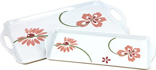 Corelle Coordinates Rectangular and Tidbit Serving Tray Set, White, Pretty Pink