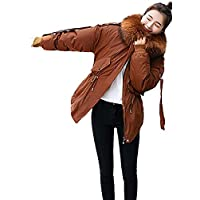 Women Thickened Down Jacket Coats Puffer Jacket with Plush Lined Faux Fur Trim Hood
