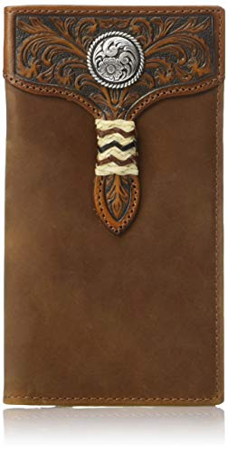 (Ariat Men's Distressed Circle Concho Rawhide Rodeo Wallet, brown)