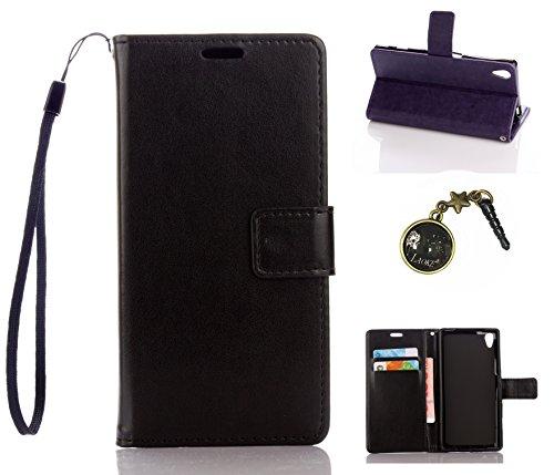 PU Xperia Z5funda Flip cover de piel para Sony Xperia Z5Flip Cover Funda Libro Con Tarjetero Función Atril magnético + Polvo Conector marrón 8 3