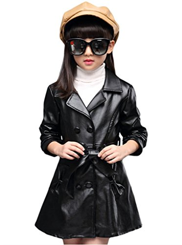 SKY-ST Girls Lapel Double-Breasted Faux Leather Windbreaker Trench Coat