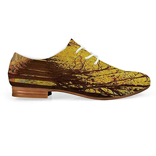 Landscape Leather Lace up Oxfords Shoes,Botanical Garden Autumn Leaves in The Fall Linden Alley in Kiev Ukraine Image Bootie for Girls ladis Womens,US 9