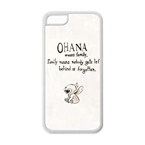 DiyCaseStore Custom Disney Animation Lilo and Stitch iPhone 5C Case Cover - Ohana means family,family means nobody gets left behind,or forgotten.