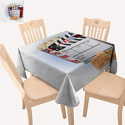 (Angoueleven Movie Theater Picnic Cloth Soda Tickets Fresh Popcorn and Clapper Board Blockbuster Premiere Cinema Dining Table Cover Multicolor W 54