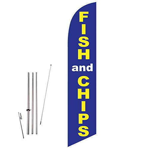 (Cobb Promo Fish and Chips (Blue) Feather Flag with Complete 15ft Pole kit and Ground)