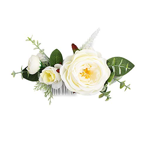 FIDDY898 Artificial Floral Bridal Hair Comb Wedding Crown Handmade Greenery Comb