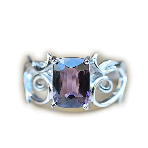- Lovemom 15.81ct Natural Cushion Unheated Purple Spinel 925 Silver Ring 6.5US Myanmar #W