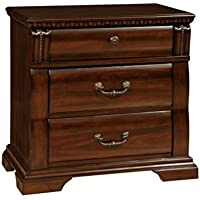 HOMES: Inside + Out ioHOMES Secosia Transitional 3-Drawer Nightstand, Cherry