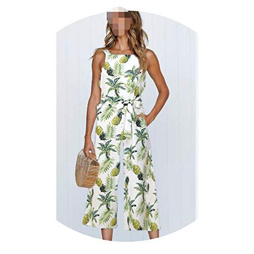 2019 Summer Fashion Women Spaghetti Strap Wide Leg Bodycon Jumpsuit Floral Trousers,M