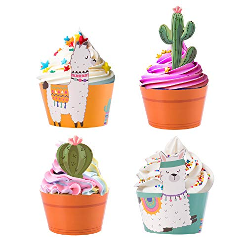 Cactus Cupcake Toppers Llama Wrappers product image