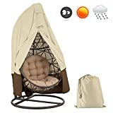 """NewSoul1us Patio Hanging Chair Cover Waterproof Wicker Egg Swing Chair Covers with Zipper Heavy Duty Oxford Outdoor Furniture Protector, 75""""H X 45"""" D (Beige&Coffee, 420D)"""