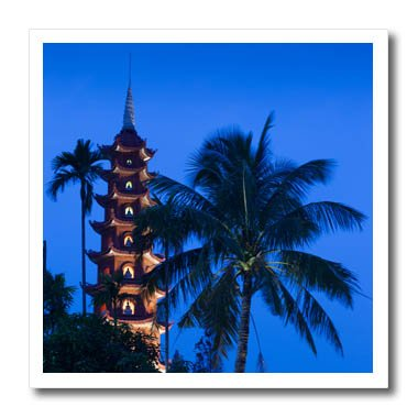 3dRose Danita Delimont - Vietnam - Vietnam, Hanoi. Tay Ho, West Lake, Tran Quoc Pagoda, dusk - 6x6 Iron on Heat Transfer for White Material (ht_257310_2)