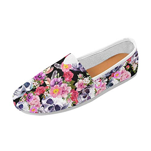 INTERESTPRINT Human Skulls with Flowers, Pattern, Watercolor Women's Casual Slip On Loafers Office ()