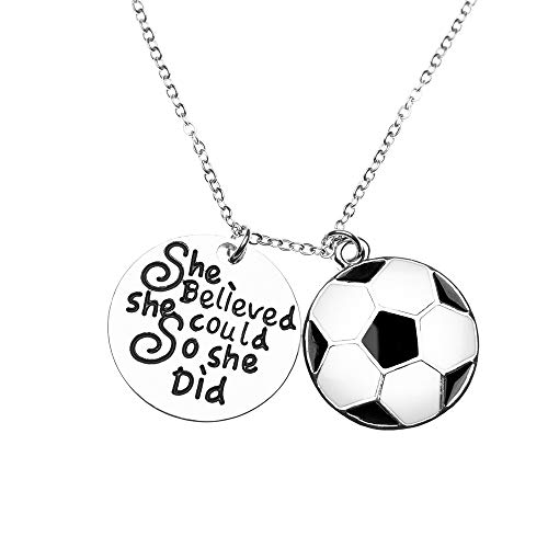 Soccer Necklace, Soccer Jewelry - She Believed She Could So She Did Pendent - Perfect Soccer Player ()