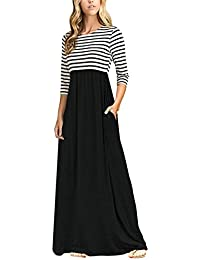 Women's Striped Scoop Neck 3/4 Sleeve Casual Maxi Dress With Side Pockets