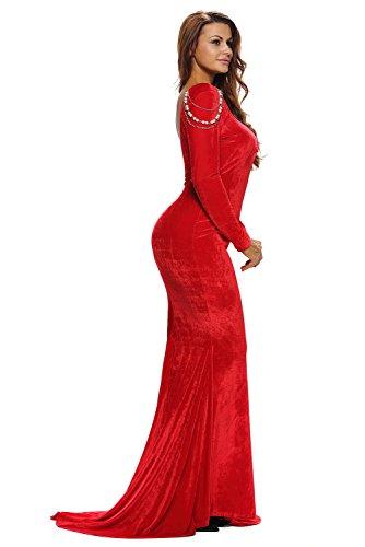 Élégant en velours rouge Perle et robe de soirée Robe longue Cruise Bal Cocktail Robe de porter Taille S UK 8–10EU 36–38