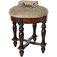 Design Toscano Grand Duchess Vanity Stool, 17 Inch, Hardwood, Walnut