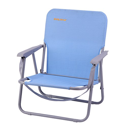 #WEJOY Lightweight Portable Outdoor Lawn Concert Camp Beach Folding Chair with Shoulder Strap Pocket, Low Back Seat, Holds Up to 300 LB, ()