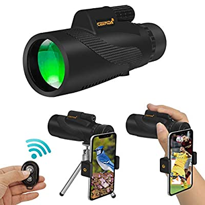 Ceenda Monocular Telescope,12x50 HD Low Night Vision Waterproof High Power Spotting Scope with Phone Photography Adapter and Wireless Remote Control?Perfect for Bird watching Hiking Concerts