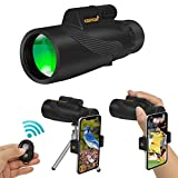 Ceenda Monocular Telescope,12x50 HD Low Night Vision Waterproof High Power Spotting Scope with Phone Photography Adapter and Wireless Remote Control,Perfect for Bird watching Hiking Concerts