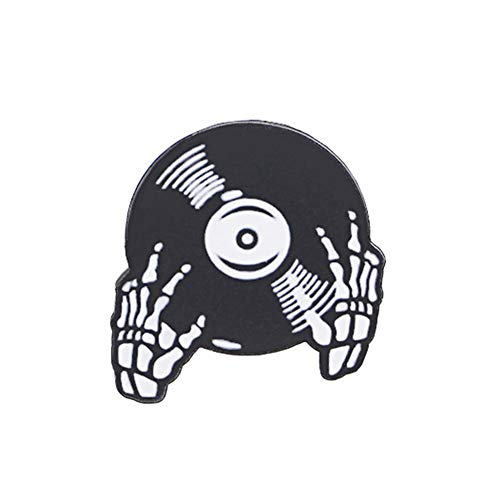 eroute66 Cool Halloween Skeleton Hand Music Vinyl Record Badge Shirt Collar Brooch Pin - Black]()