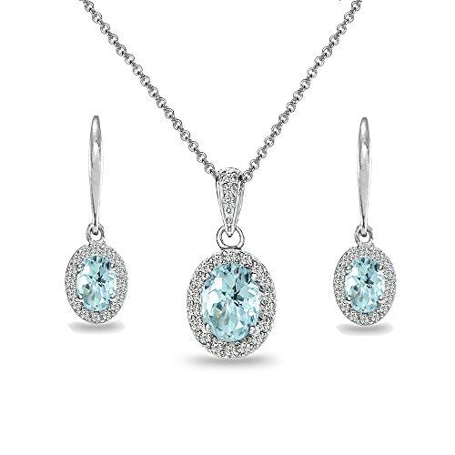 (Sterling Silver Blue Topaz & White Topaz Oval Halo Necklace & Leverback Earrings Set)