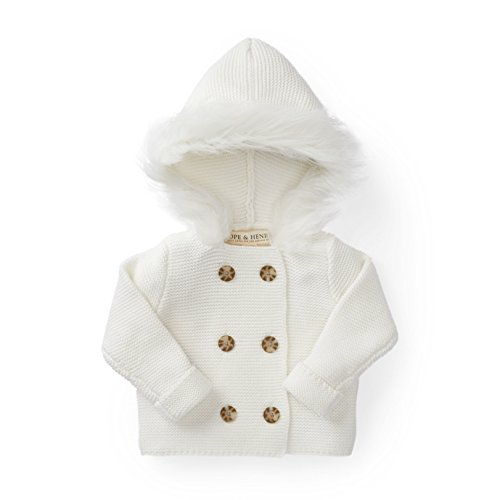 (Hope & Henry Layette White Baby Sweater with Faux Fur Hood)