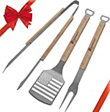 ROMANTICIST 3pc Heavy Duty BBQ Grilling Tools Set with Gift Box Package - Extra Thick Stainless Steel Spatula Fork Tongs for Barbecue & Grill for Men Dad Women