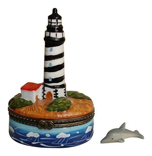 Phb Porcelain (Coastal Lighthouse Porcelain Hinged Trinket Box phb)
