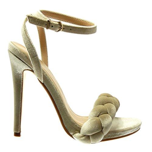Angkorly - Chaussure Mode Sandale Escarpin femme tréssé lanière Talon haut aiguille 12.5 CM - Beige