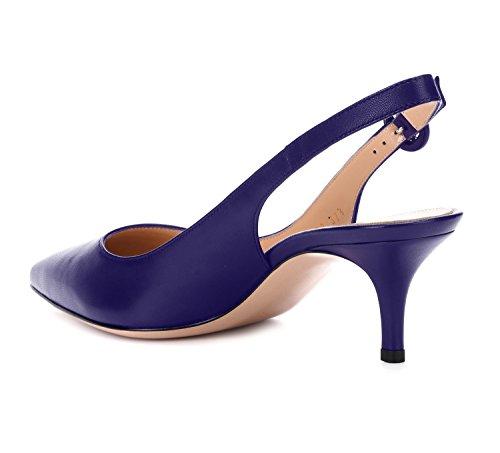 Aiguille Talon Bleu Foncé Slingback Femme Kitten Femmes Escarpins heel Sexy Ubeauty Sandales Pumps q6vER