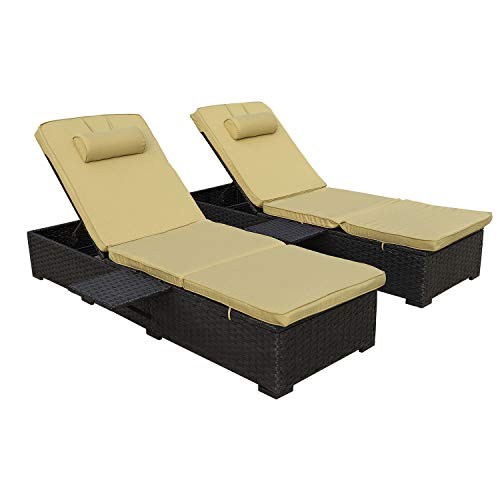 Outdoor PE Wicker Chaise Lounge - 2 Piece Patio Black Rattan Reclining Chair Furniture Set Beach Pool Adjustable Backrest Recliners with Olive Green Cushions
