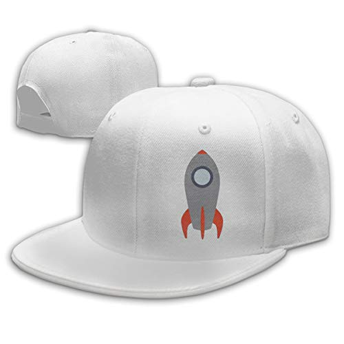 Aiguan Retro Rocket Ship Flat Visor Baseball Cap, Designed Snapback Hat White (Ship Ball Cap Rocket)