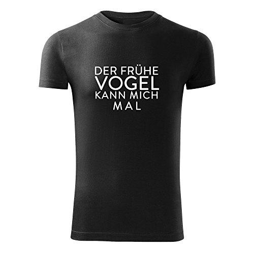 Herren Der frühe Vogel kann mich mal Shirt schwarz & weiß Motiv - T-Shirt Poloshirt mit Motiv - Neu S - XXL - Farbe: Schwarz - Größe: XL