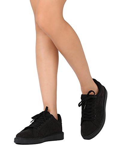 Qupid Fe91 Kvinnor Faux Mocka Mandel Tå Snörning Sneaker - Svart