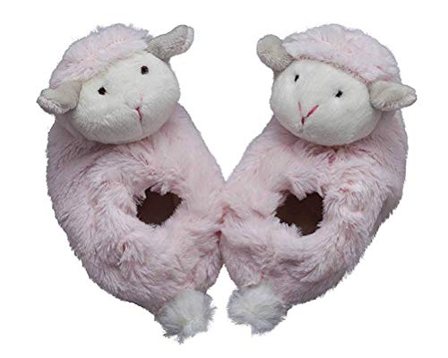 STORKI Plush Baby Booties with Foot Rattles for Infants, Soft Slippers Gift (Pink Lamb) ()