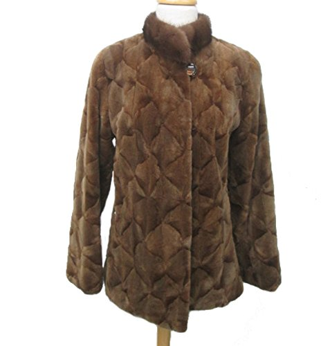 (Women's Sz 6 Brown Sheared Mink Fur Coat Jacket)