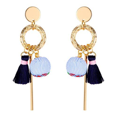 MengPa Tassel Dangle Earrings for Women Fashion Cloth Ball Jewelry Blue