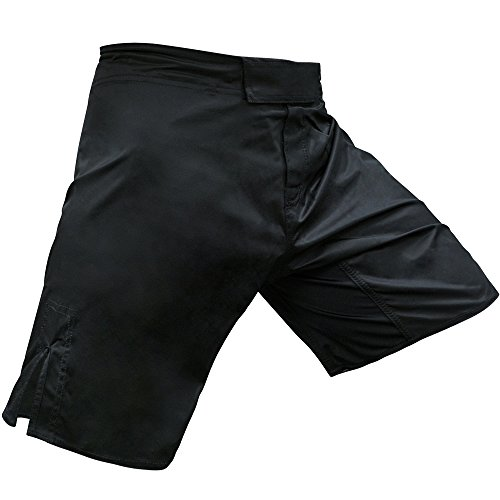 (Meister Elite Flex Fighter Board Shorts for MMA Training and Gym Workouts - Blank No Logo - Black - Medium (32-33))