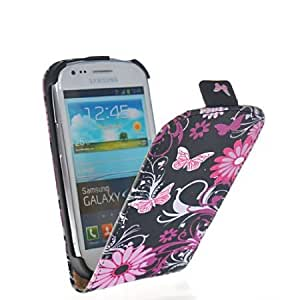 Bloutina Mooncase Butterfly Style Flip Pouch Devise Leather Case Cover With Screen Protector for Samsung Galaxy S3 Mini...