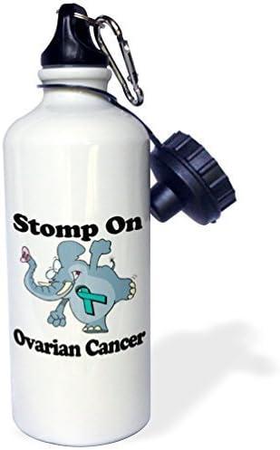 Moson Botella de Agua para Deportes con Diseño de Elefante Cáncer de Ovario y Lazo, Color Blanco