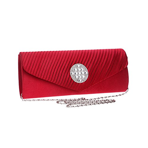 Purse Rhinestones Strap Red With Chain Handbag Evening Envelope Women Clutch Bag Wedding X7ffx1
