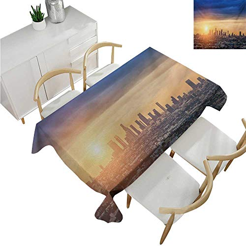 familytaste City,Table Covers,Sunrise at Los Angeles Urban Architecture Tranquil Scenery Majestic Sky,Rectangular Polyester Tablecloth 54