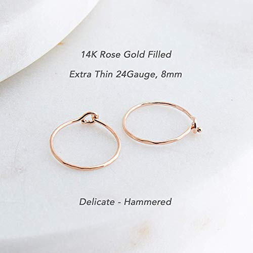 (Extra Thin Rose Gold Filled Hoop Earrings Handmade Gift for Her, RGF-CL-R-HH-D8MM-24GA- Delicate Hammered)