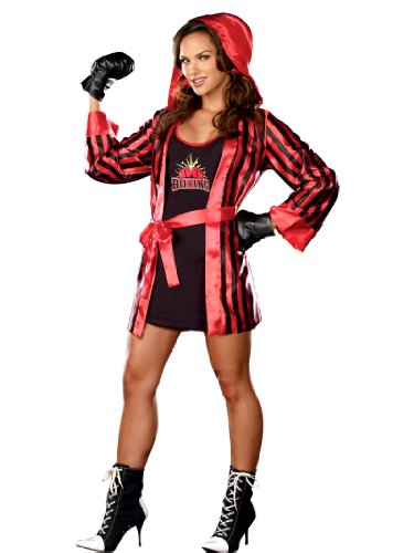 [Knock Out Boxer Costume Sexy Robe and Workout Clothes Womens Theatrical Costume Sizes: Large] (Knock Out Costumes)