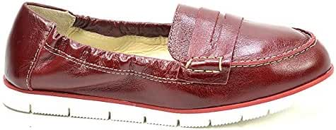 OGSwideshoes Yoki Red Leather Flats Moccasins Extra Wide Fit