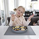 ezpz Happy Mat (Gray) - 100% Silicone Suction Plate with Built-in Placemat for Toddlers + Preschoolers - Divided Plate - Dishwasher Safe
