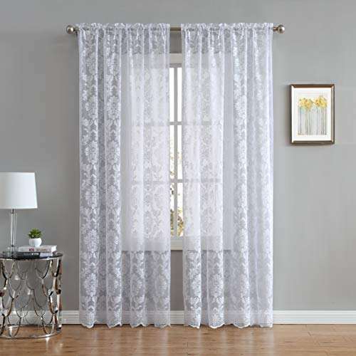 LinenZone Fiona Knitted Lace Curtain Medallion Design with Scalloped Bottom - Rod Pocket - Total Size 108 Inch Wide (54