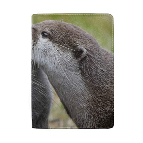 Otter Couple Portable Leather Passport Holder Cover Case for Travel Luggage One Pocket