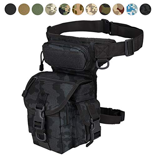 Military Tactical Drop Leg Bag Tool Fanny Thigh Pack Leg Rig Utility Pouch Paintball Airsoft Motorcycle Riding Thermite Versipack, Black Camel